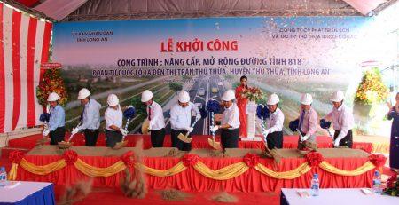 Thủ Thừa: Khởi công nâng cấp, mở rộng đường tỉnh 818